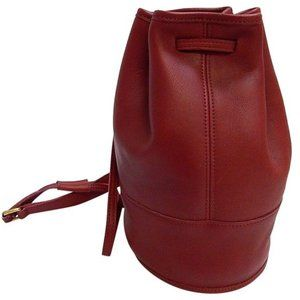 COACH Vintage Red Leather Drawstring Backpack